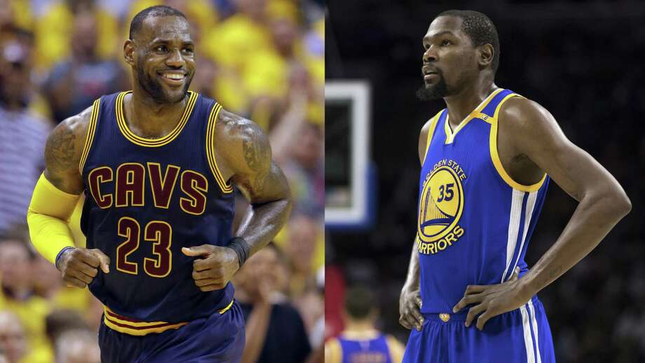 At left, in an April 20, 2017, file photo, Cleveland Cavaliers forward LeBron James smiles after hitting a basket against the Indiana Pacers during the second half of Game 3 of a first-round NBA basketball playoff series, in Indianapolis. At right, in a Feb. 27, 2017, file photo, Golden State Warriors' Kevin Durant looks on during the first half of an NBA basketball game against the Philadelphia 76ers, in Philadelphia. Kevin Durant looks at LeBron James from afar and marvels at how the Cavs main man keeps finding a way to take his game to another level, year after year. Photo: Associated Press / AP