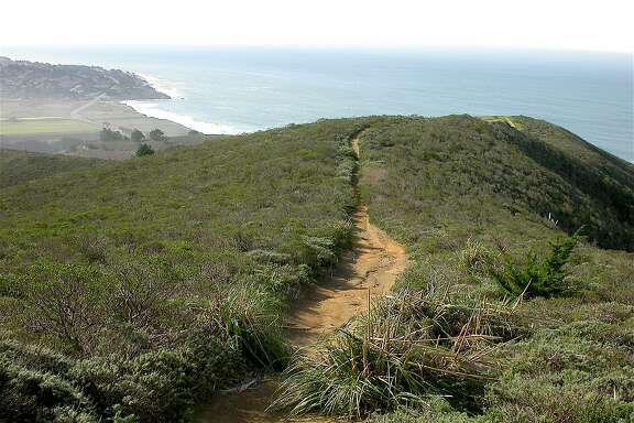 A trail from Gray Whale Cove on the San Mateo County Coast leads up to a nearby ridge for a beautiful ocean view.
