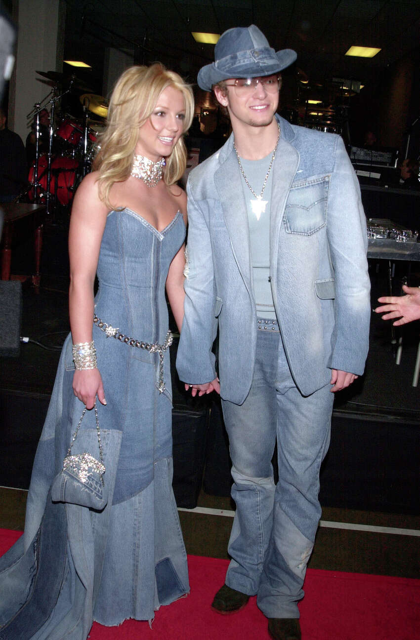 Britney Spears and Justin Timberlake, arriving at the 28th annual American Music Awards in 2001, held at the Shrine Auditorium. (Photo by Frank Trapper/Corbis via Getty Images)