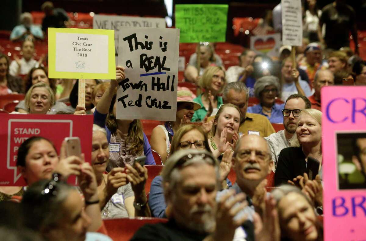People participate in the Ted Cruz is Missing Town Hall held at the Texas Southern University Sawyer Auditorium on April 15, 2017, in Houston.The event was sponsored by a broad coalition of Houston progressive groups. (Melissa Phillip / Houston Chronicle )
