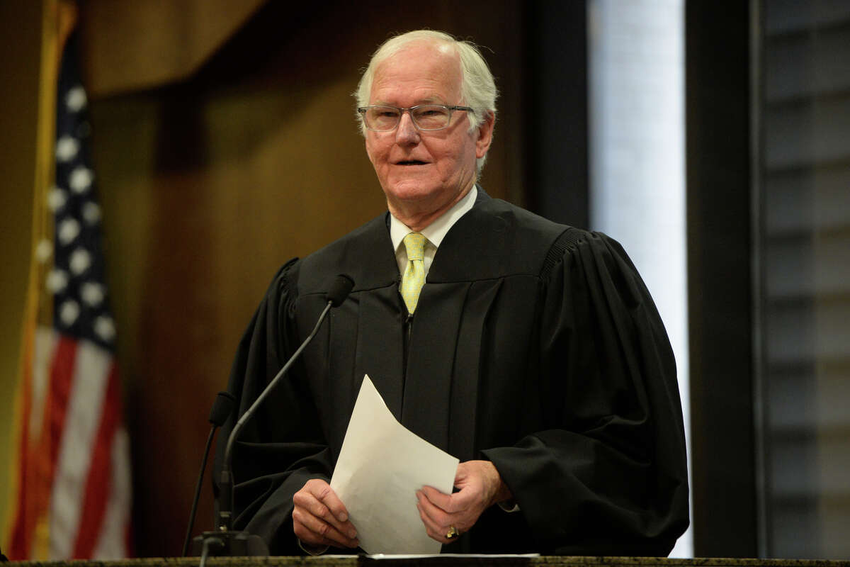 Judge Mike Bradford speaks during a ceremony to honor district judges May 31, 2017, at the Midland County Courthouse. James Durbin/Reporter-Telegram