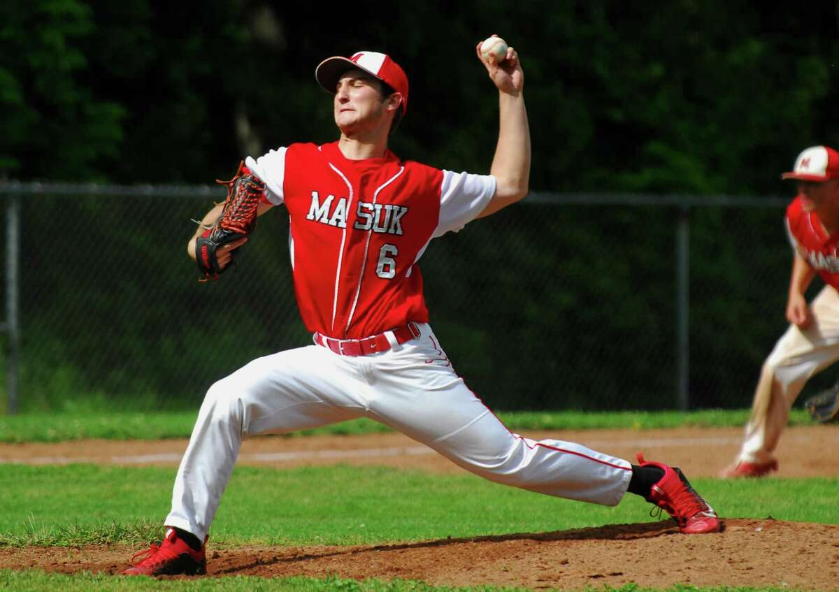 Masuk's Michael Marella pitches against Notre Dame of West Haven during baseball action in Monroe, Conn., on Wednesday May 31, 2017.