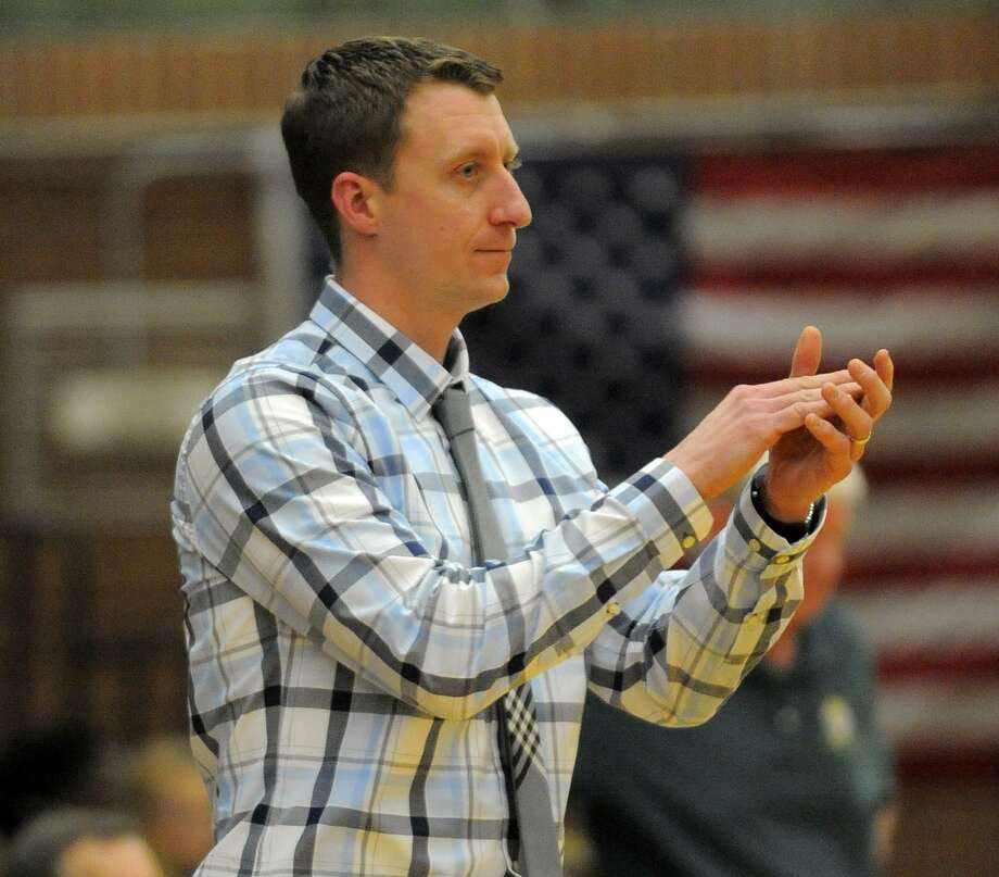 McMahon coach Ken Dustin reacts to a call in the first half. Trinity defeated McMahon 73-70 during a boys basketball game on Tuesday, Jan. 26, 2016 in Stamford, Connecticut. Photo: Matthew Brown / Hearst Connecticut Media / Stamford Advocate