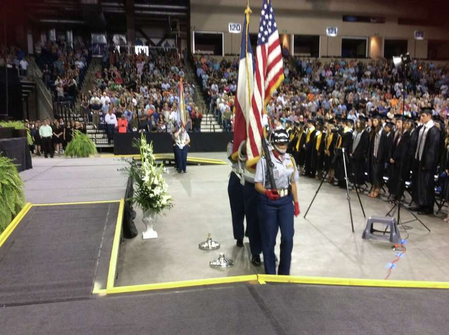 Hargrave High School JROTC performs the presentation of colors during the Hargrave High School graduation commencement ceremony Thursday, May 25 at Ford Park in Beaumont. Photo: Courtesy Of Huffman ISD Facebook Page