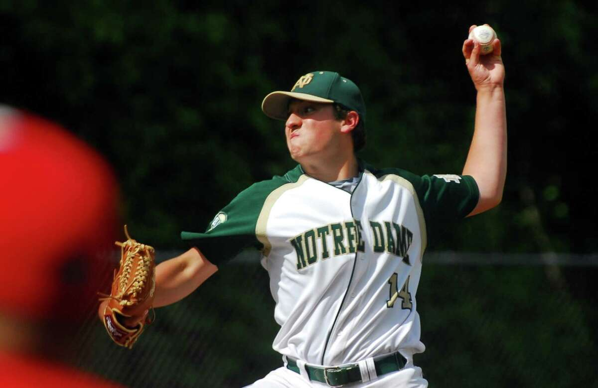 Notre Dame of West Haven's Michael Sansone on the mound during baseball action against Masuk in Monroe, Conn., on Wednesday May 31, 2017.