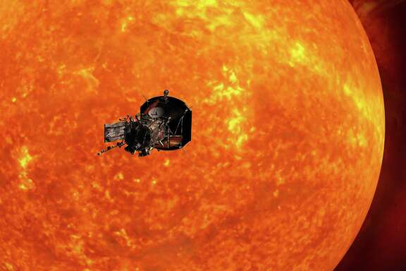 NASA's Parker Solar Probe spacecraft will venture seven times closer to the sun than any previous craft. Itwill pass by the sun's outer atmosphere at 430,000 mph and endure 2,500-degree temperatures.
