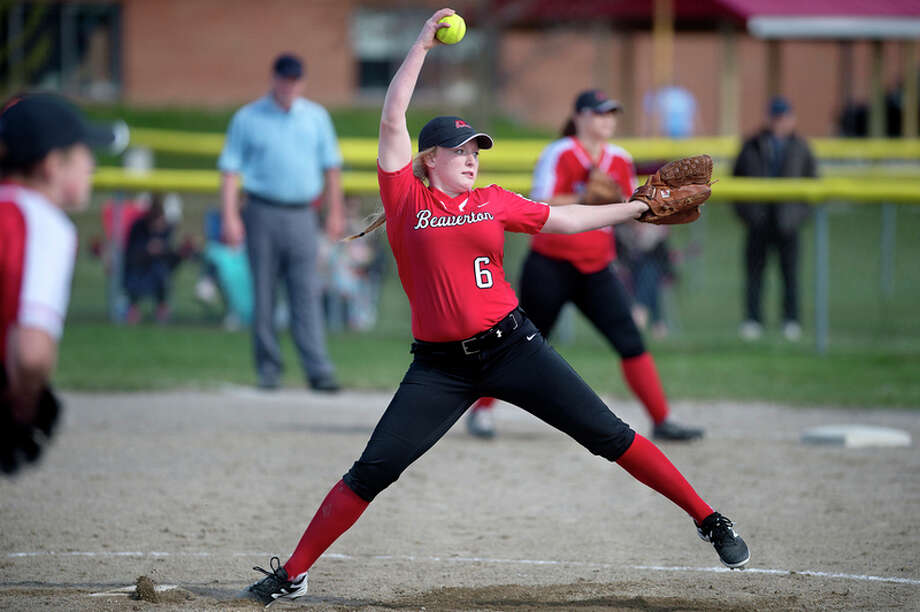 BRITTNEY LOHMILLER | blohmiller@mdn.net Beaverton's Faith Howe prepares to pitch in the fifth inning of Beaverton's home game against Meridian Wednesday afternoon.