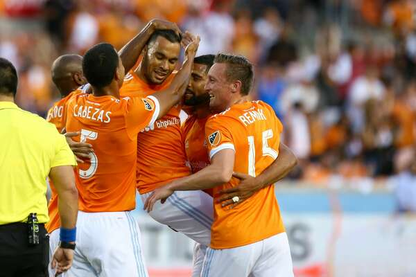 Houston Dynamo forward Mauro Manotas (19), center, celebrates a Real Salt Lake own goal with teammates during the first half of the game against Real Salt Lake BBVA Compass Stadium Wednesday, May 31, 2017, in Houston. ( Godofredo A. Vasquez / Houston Chronicle )