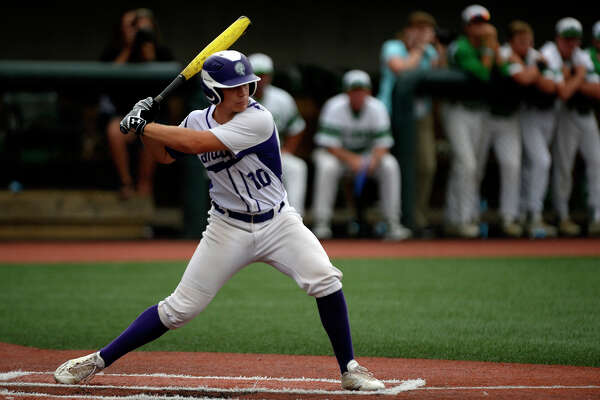Port Neches-Groves's Austin Bost bats against Brenham in the Class 5A-3 baseball regional final at Sam Houston State's Don Sanders Stadium on Wednesday evening.  Photo taken Wednesday 5/31/17 Ryan Pelham/The Enterprise