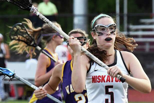 Niskayuna's #5 Erin Doyle in action against Warwick during their Class A regional game  Wednesday May 31, 2017 in Burnt Hills, NY.  (John Carl D'Annibale / Times Union)