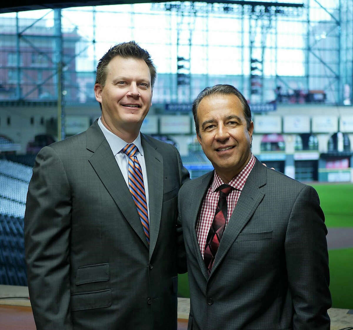 Astros voices Todd Kalas (right) and Geoff Blum are leading the charge to incorporate advanced stats into their broadcasts.