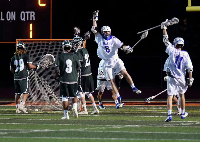 Shaker's Michael Stiso (6) celebrates his goal against Shenendehowa during a Section II Class A boys high school lacrosse final in Rotterdam, N.Y., Wednesday, May 31, 2017. (Hans Pennink / Special to the Times Union) ORG XMIT: HP109