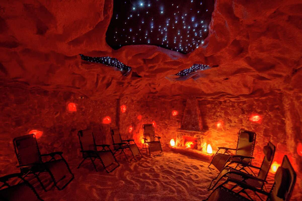 Interior view of the Salt Cave for Salt Therapy is illuminated by salt lamps at the Salt Den which is now open for business Tuesday May 31, 2017 in Latham, N.Y. (Skip Dickstein/Times Union)