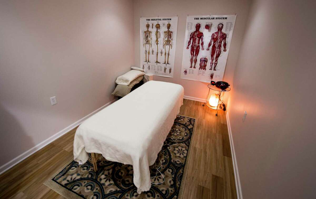 Interior view of one of the massage therapy rooms of the Salt Den which is now open for business Tuesday May 31, 2017 in Latham, N.Y. (Skip Dickstein/Times Union)
