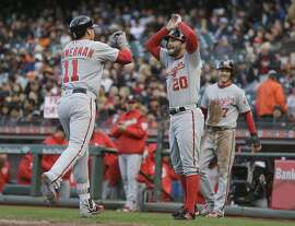 Washington Nationals' Ryan Zimmerman (11) is greeted by Daniel Murphy (20) after hitting a three-run home run off San Francisco Giants starting pitcher Matt Cain during the first inning of a baseball game Wednesday, May 31, 2017, in San Francisco. In the background is the Nationals' Trea Turner (7). (AP Photo/Eric Risberg)