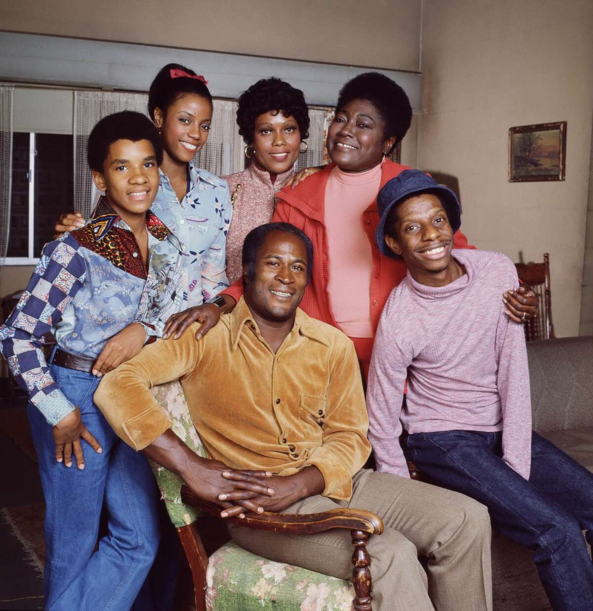 (Front row) John Amos and Jimmie Walker; (back row) Ralph Carter, BernNadette Stanis, Ja'net DuBois and Esther Rolle,