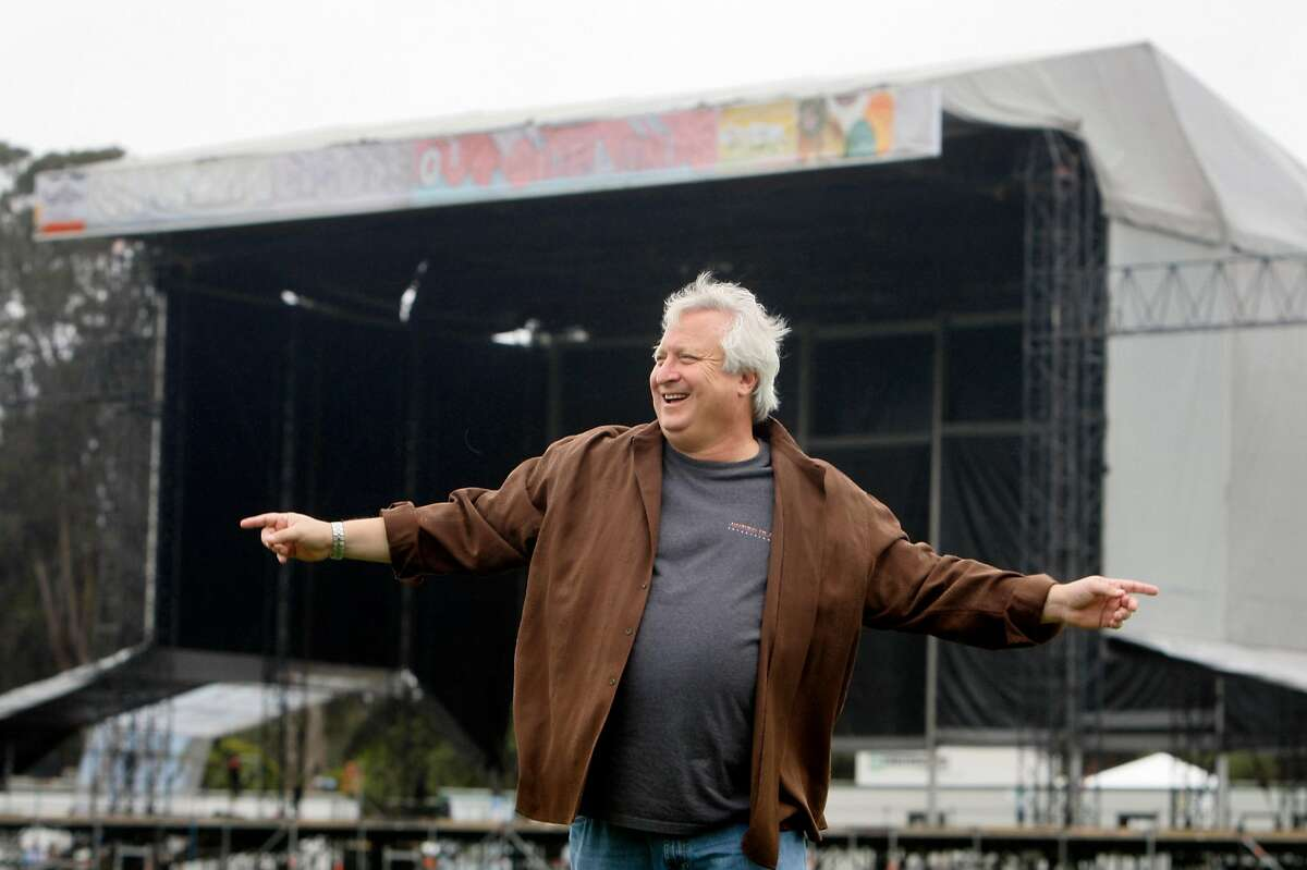 Gregg Perloff watches his team of employees prepare for the Outside Lands music festival on the Polo Field at Golden Gate Park in San Francisco, Calif., on Tuesday, Aug. 19, 2008. The three-day event this weekend is expected to draw as many as 60,000 rock music fans each day.