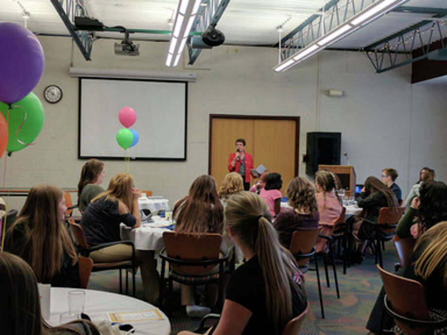 A speaker shares information with more than 200 students from Gladwin, Beaverton, Clare and Farwell during Mid Michigan Community College's 8th Grade Girls Luncheons.