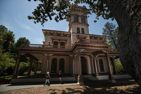 Visitors walk past John Bidwell Mansion, built in 1903, on Monday, May 29 2017 in Chico, CA.