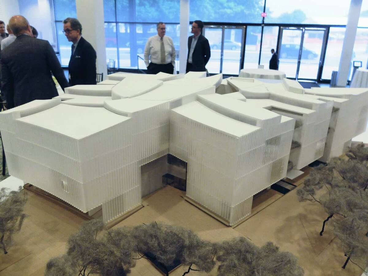 A new model of the Nancy and Rich Kinder Building, now under construction at the corner of Main and Bissonnet, was shown Wednesday, May 31 at the Museum of Fine Arts, Houston.