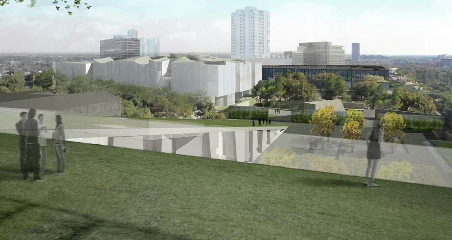 A view of the Museum of Fine Arts, campus as it will eventually be seen from the roof of the new Glassell School of Art, looking toward the future Nancy and Rich Kinder Building, the Cornelia Wiess Law Building, the Cullen Sculpture Garden and the new Brown Foundation Plaza. Photo: Steven Holl Architects