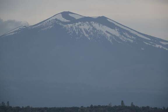 Mount Lassen, is the southernmost active volcano in the Cascade Range, United States. Located in the Shasta Cascade region of Northern California photographed here on Tuesday, May 30 2017, Hwy 299, east of MacArthur.