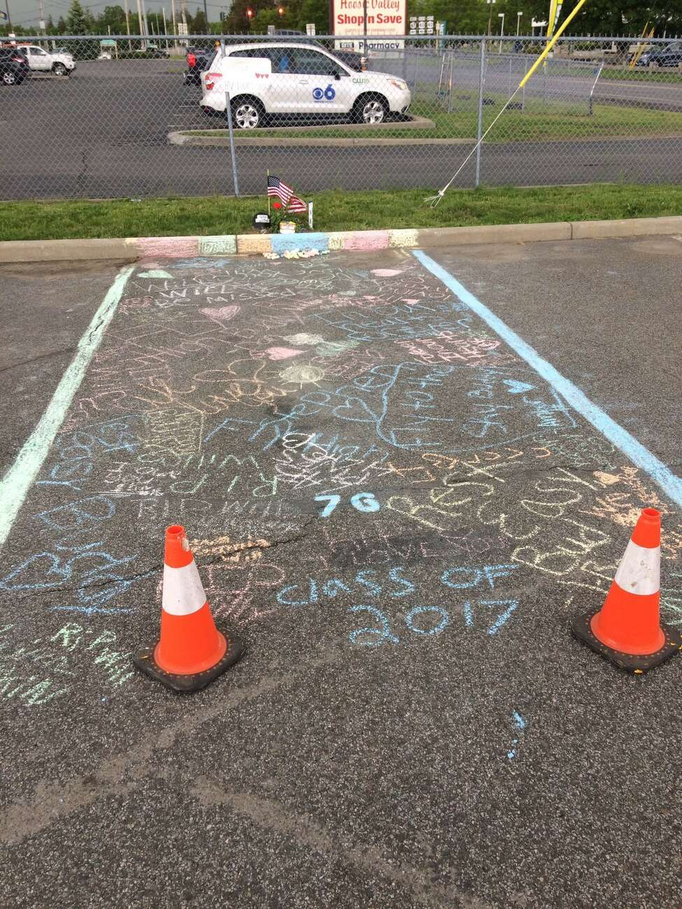 Students at Hoosic Valley High School decorated senior William Rowe's parking spot with messages of mourning after learning the 17 year old had died in a car crash on May 31, 2017 in Schaghticoke. (Courtesy of Trever Rose)