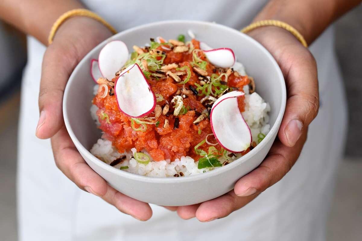 Chopped tuna poke bowl at SeaSide Poke, a new Hawaiian poke restaurant opening in Houston's EaDo neighborhood.