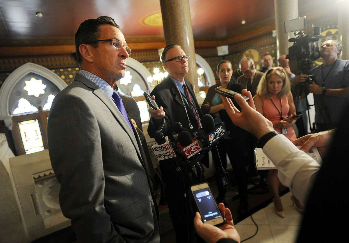 Governor Dannel P. Malloy speaks to the media after meeting with senate and house leaders at the Capitol in Hartford, Conn. on Thursday, June 1, 2017.