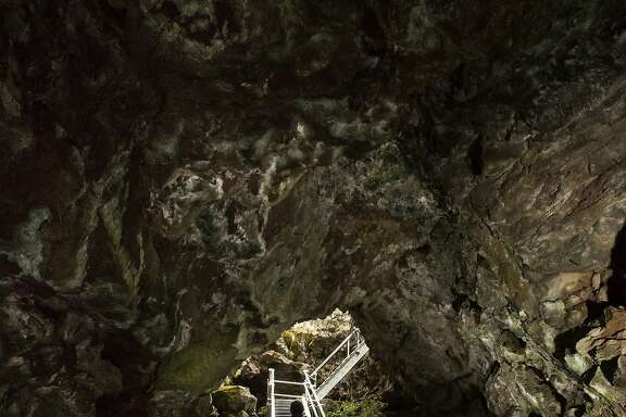 Metal stairs provide access to the Merrill cave in the Lava Beds National Monument on Wednesday, May 31 2017 in Siskiyou County, CA.