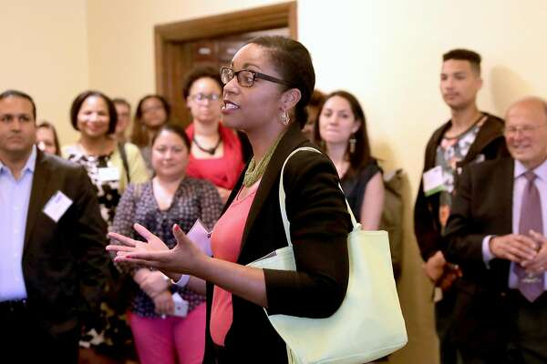 Oakland Unified School District Superintendent elect Kyla Johnson-Trammel addresses the VIP's gathered to thank them for their support of the Oakland Promise Program during an awards ceremony at the Scottish Rite Temple in Oakland, Ca., on Wednesday May 31, 2017. 400 students are set to head to college with money provided by the Oakland Promise Program and the East Bay College Fund.