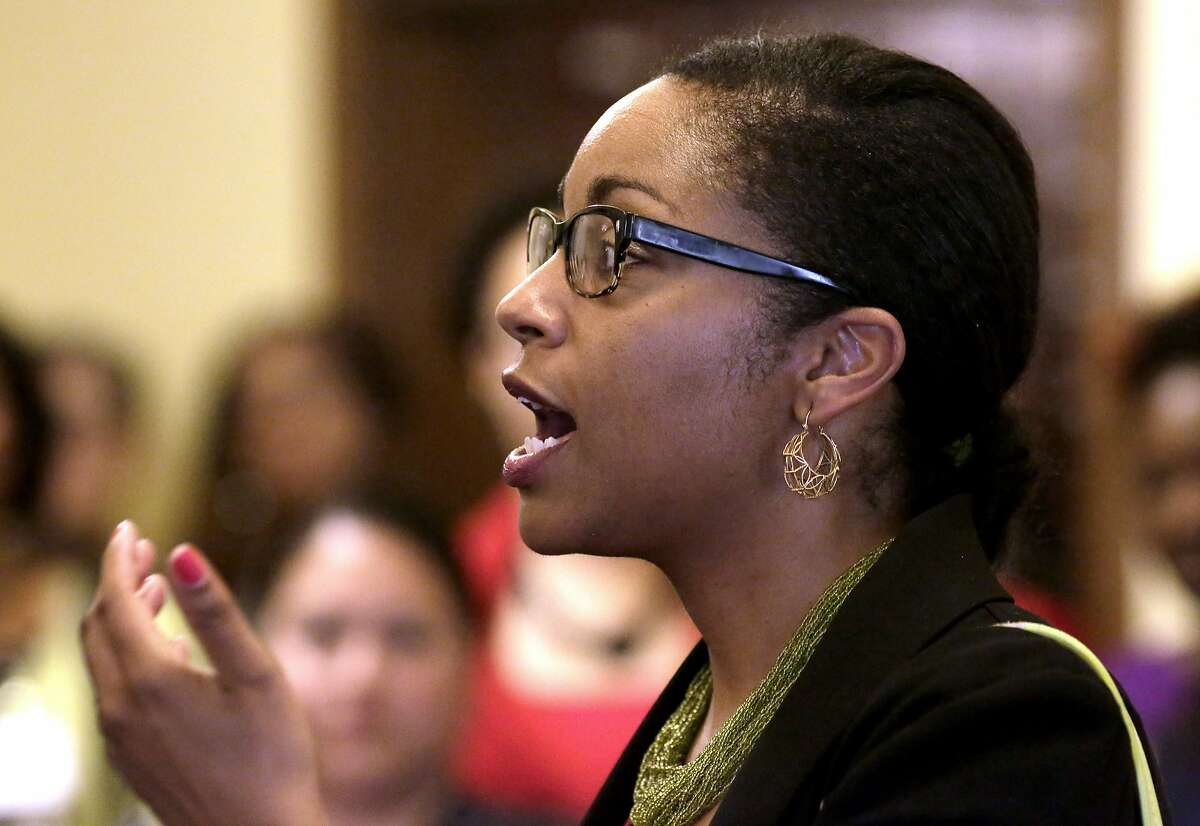 Oakland Unified School District Superintendent elect Kyla Johnson-Trammel addresses the VIP's gathered to thank them for their support of the Oakland Promise Program during an awards ceremony at the Scottish Rite Temple in Oakland, Ca., on Wednesday May 31, 2017. 400 students are set to head to college with money provided by the OaklandPromise Program and the East Bay College Fund.