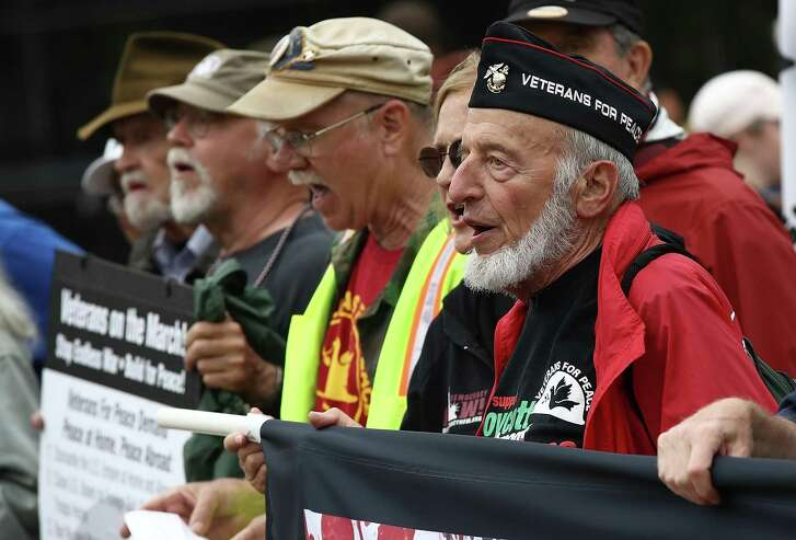 Members of the group Veterans For Peace hold a rally outside the White House May 30 in Washington. The group gathered the day after Memorial Day to oppose U.S. President Donald Trump's policies and wars. (Photo by Win McNamee/Getty Images)