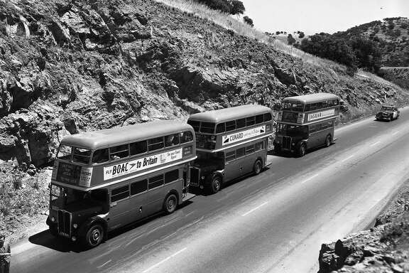 London double-decker buses on a tour of the United States to promote tourism to Great Britain
