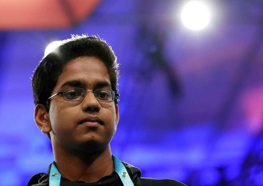 Shourav Dasari, 14, from Spring, Texas, pauses before spelling his word during the 90th Scripps National Spelling Bee, Thursday, June 1, 2017, in Oxon Hill, Md. Photo: Alex Brandon, AP / Copyright 2017 The Associated Press. All rights reserved.