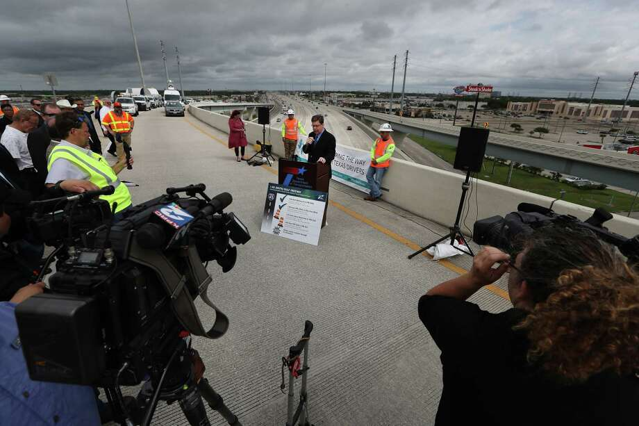 Houston District Engineer Quincy Allen addresses the media and other dignitaries at an event noting completion of Interstate 45 at El Dorado and start of construction south from NASA 1 to FM 518 on June 1 in Clear Lake. Photo: Steve Gonzales, Houston Chronicle / © 2017 Houston Chronicle