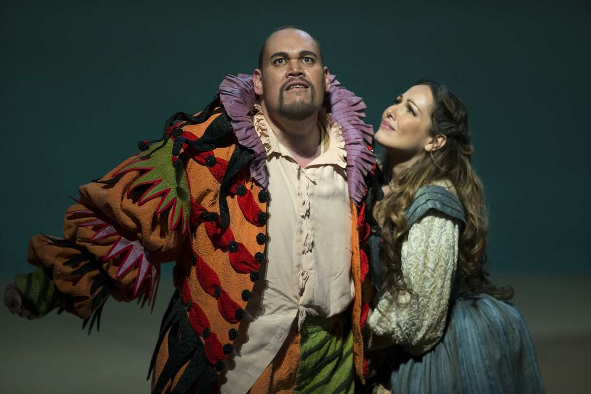 """Quinn Kelsey, who is familiar to San Francisco Opera audiences, plays the title character and Nino Machaidze is his daughter, Gilda, in """"Rigoletto."""""""