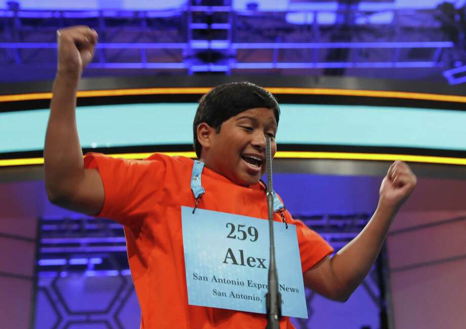 Alex Iyer, 14, from San Antonio, Texas, reacts after spelling his word correctly during the 90th Scripps National Spelling Bee, Thursday, June 1, 2017, in Oxon Hill, Md. (AP Photo/Alex Brandon) Photo: Alex Brandon, STF / Associated Press / Copyright 2017 The Associated Press. All rights reserved.