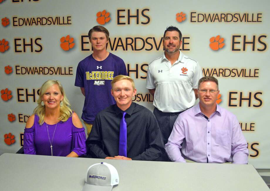 Edwardsville senior Andrew Yancik will play baseball at McKendree University. In the front row, from left to right, are mother Jo Marie Yancik, Andrew Yancik and father Dave Yancik. In the back row, from left to right, are brother Jonathon Yancik and EHS coach Tim Funkhouser.