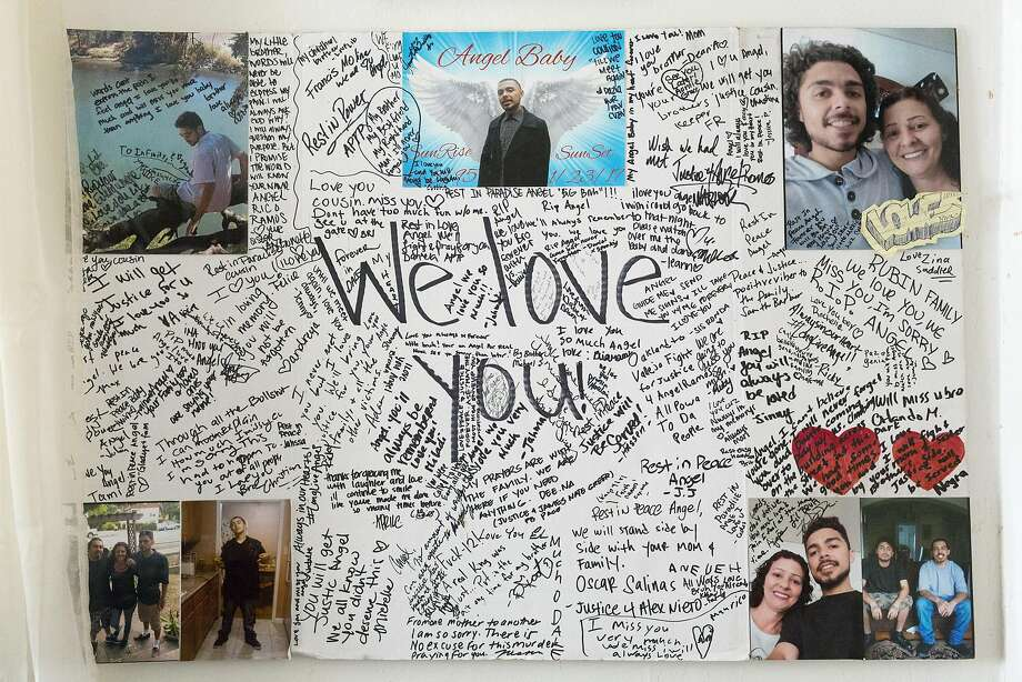 A memorial poster for her son hangs in Evans' bedroom. Ramos was shot and killed by Vallejo police, who contend he was trying to stab a teenager in January. Ramos' autopsy results have not been made available to his family. Photo: Eric Kayne, Special To The Chronicle