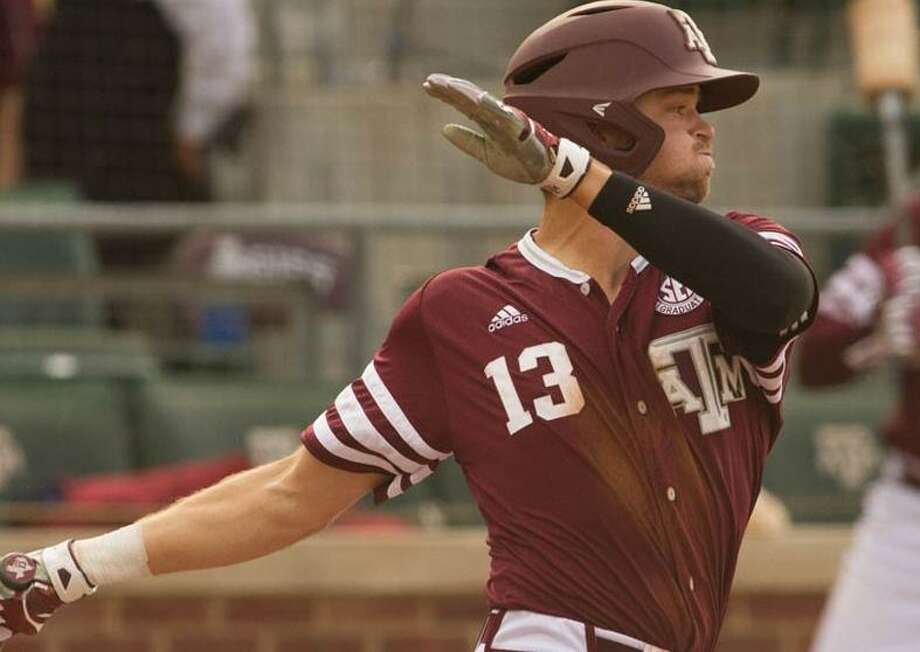 Texas A&M outfielder Blake Kopetsky takes a cut at the plate during a 6-4 SEC loss to Mississippi on May 13, 2017, at Oxford, Miss. Photo: Courtesy Photo /Texas A&M Athletics