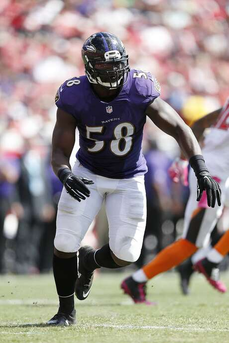 TAMPA, FL - OCTOBER 12: Elvis Dumervil #58 of the Baltimore Ravens in action against the Tampa Bay Buccaneers during the game at Raymond James Stadium on October 12, 2014 in Tampa, Florida. The Ravens defeated the Buccaneers 48-17. (Photo by Joe Robbins/Getty Images) Photo: Joe Robbins, Getty Images