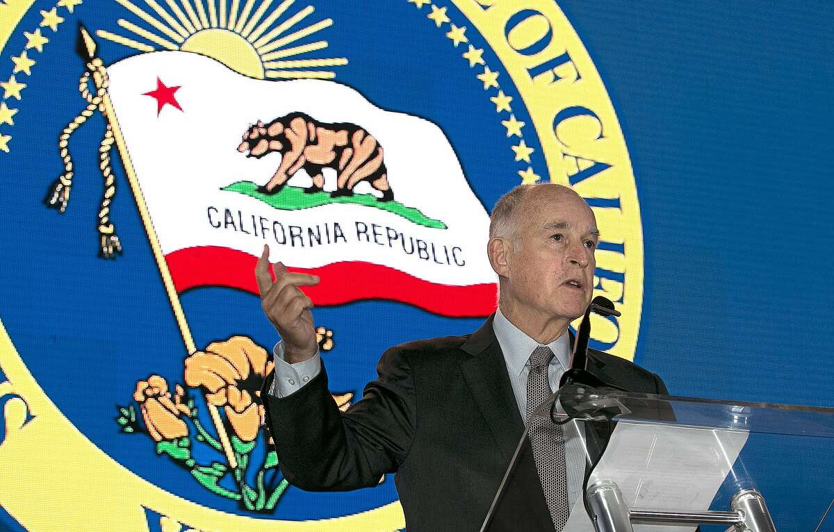 California Gov. Jerry Brown said he will need Republican's help to renew California's cap-and-trade program, while speaking at the California Chamber of Commerce 92nd Annual Sacramento Host Breakfast, Thursday, June 1, 2017, in Sacramento, Calif.