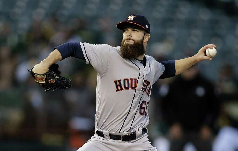Houston Astros pitcher Dallas Keuchel works against the Athletics during the first inning in Oakland, Calif., on April 14, 2017. After struggling to defend his 2015 AL Cy Young Award last season, Keuchel is back in ace form for Houston. Photo: Ben Margot /Associated Press / Stratford Booster Club