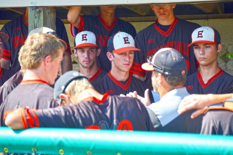 Edwardsville coach Tim Funkhouser talks to his team before the Tigers take the field against O'Fallon in the Class 4A Bloomington (Illinois Wesleyan) Sectional on Wednesday in Collinsville.