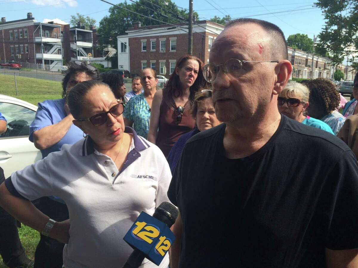 AFSCME Local 1522 President Anna Montalvo and shop steward Charles Cravatas said that the 400 employees of Bridgeport Health Care Center are fed up with late paychecks and unpaid health insurance premiums.