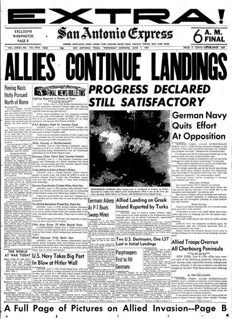 "Front page of June 7, 1944 D-Day extra edition, ""Allies continue landings"" Photo: From Digitized Microfilm / From Digitized Microfilm"