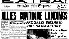"Front page of June 7, 1944 D-Day extra edition, ""Allies continue landings"""