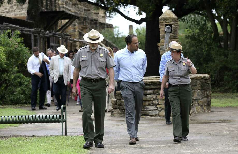 """U.S. Rep. Will Hurd, R-Helotes, center, tours Mission San Jose with San Antonio Missions Chief of Maintenance David Vekas, left,  and Superintendent Mardi Arce, Thursday, June 1, 2017. Hurd is one of the sponsors of the National Park Service Legacy Act, which aims is to """"jumpstart overdue maintenance,"""" at national parks, including the Mission system in San Antonio. Photo: JERRY LARA / San Antonio Express-News / © 2017 San Antonio Express-News"""