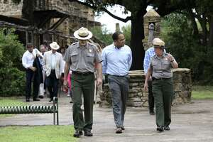 """U.S. Rep. Will Hurd, R-Helotes, center, tours Mission San Jose with San Antonio Missions Chief of Maintenance David Vekas, left,  and Superintendent Mardi Arce, Thursday, June 1, 2017. Hurd is one of the sponsors of the National Park Service Legacy Act, which aims is to """"jumpstart overdue maintenance,"""" at national parks, including the Mission system in San Antonio."""